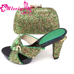 Green Women Shoes Ribbon Lace Australia - 1114-green Latest Design Sales In Women Matching Shoes and Bag Set Decorated with Rhinestone Women Shoes and Bag Set In Italy Nigerian