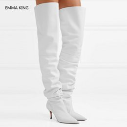 Open tOe bOOts stilettO online shopping - Sexy White Leather Elastic Thigh High Boots Women Pointed Toe Stiletto High Heels Pleated shoes Woman Over The Knee Long Boots