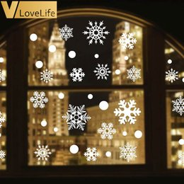 Christmas Stickers Wholesale Australia - 48pcs Snowflake Window Clings Christmas Window Decorations Different Snowflakes by Glueless PVC Stickers