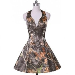 Green draped dress online shopping - Cheap Short Camo Bridesmaid Party Dresses Halter Neck A line Custom Wedding Guest Dresses Formal Party Gowns