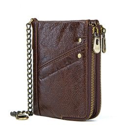 Discount double zipper card holder - Vintage Rfid Wallets Genuine Leather Men Short Wallet for Cards Male Coin Storage Bag Card Holder Pocket Double Zipper D
