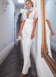 Bandage Jumpsuits Australia - Spring Fashion Sexy V Neck Black White Women Bandage Jumpsuit 2019 Bodycon Designer Bandage Jumpsuit