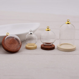 $enCountryForm.capitalKeyWord Australia - ewelry Accessories Jewelry Findings Components 5sets lot 38*25mm globe bottle wood base beads cap set glass vial cover dome glass bottle...
