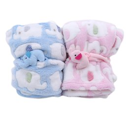 newborn knit patterns UK - Cute Elephant Cartoon Baby Blanket Newborn Elephant Air Conditioning Quilt Coral Velvet Pillow Quilt dual-use Baby Products