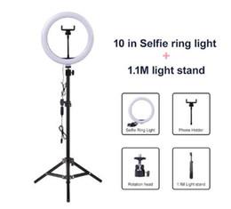 venda por atacado Luz de Vídeo Regulável LED selfie Ring Light lâmpada anel USB Fotografia Luz com telefone titular 2M tripé para a composição Youtube