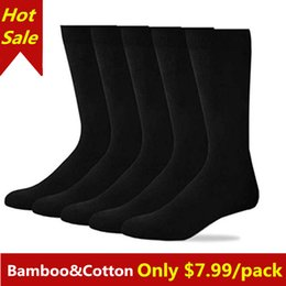 $enCountryForm.capitalKeyWord Australia - wholesale Men Black Bamboo Cotton Casual Business Dress Large Size Flat Knit Crew Socks For Male High Elasticity 5Pairs Pack