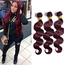 human hair extensions weft 24inch Australia - Brazilian 99J Hair Body Wave 3 Bundles Unprocessed Grade 8A Burgundy Wine Red Human Hair Weaves Extensions Length 10-24Inch