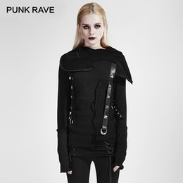 $enCountryForm.capitalKeyWord Australia - PUNK RAVE Punk Style Street Fashion Jacket Women Black Cool Girls Knitted Sweatshirt Decadent Thread Stitching Hood Top