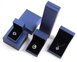 Wholesale Boxes Packaging Australia - High Quality Box For Jewelry 50pcs lot Blue Jewelry Display Boxes Ring Earring Packaging Boxes Bracelet Pendant Carrying Cases