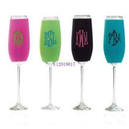 $enCountryForm.capitalKeyWord NZ - new 500pcs Wholesale summer Assorted Colors Wine Glass Insulator Drink Holder Neoprene Sleeve wine glass anti-frozen cover custom logo