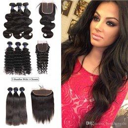 $enCountryForm.capitalKeyWord Australia - Indian Straight Body Wave 3 Bundles with Lace Closure 100% Unprocessed Raw Peruvian Brazilian Virgin hair Deep Wave Bundles with Frontal