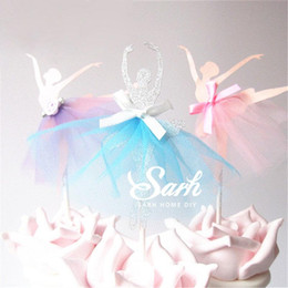 $enCountryForm.capitalKeyWord Australia - Wholesale- 8pcs lot Wedding Love Dancing Ballet Girl Series Insert Card with Plastic Stick Cake Decoration for Wedding Birthday Party Gift