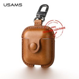 $enCountryForm.capitalKeyWord Australia - Usams Luxury Genuine Leather Case For Apple Airpods Earphone Protective Cover For Air Pods Wireless Bluetooth Earphone Box T190628