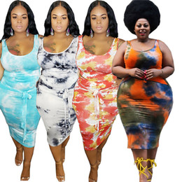 Wholesale 2pc dresses for sale - Group buy Women Plus Size XL XL pc Dresses Crop Tops Skirts Suit Sleeveless Tie Dye Tank Tops Stretchy Sexy Summer Clothing