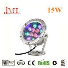 Venta al por mayor de JML Luces subacuáticas 12V 15W RGB LED proyectores exteriores IP68 a prueba de agua 1500lm CE RHoS lámparas led de alta calidad