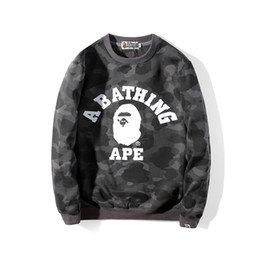 Wholesale BAPE Mens Hoodies Fashion Mens Designer Cartoon Shark Printing Hoodies Jacket Men Womens High Quality Casual Sweatshirts 5 Colors Size M-2XL