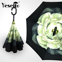$enCountryForm.capitalKeyWord Australia - Yesello Flower Gardenia Folding Double Layer Inverted Umbrella Self Stand Inside Out Rain Protection Long C-hook Hands For Car Y19062103