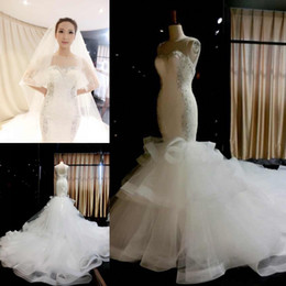 ruched wedding dresses fit flare Australia - 2019 Arabic African Brides Wear for Spring Fall Luxury Wedding Dresses Beaded Plus Size Bridal Gowns with Corset Fit and Flare