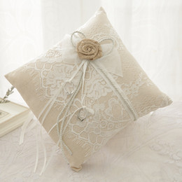 $enCountryForm.capitalKeyWord Australia - Rustic Style Lace Ring Bearer Pillow Ring Pillows & Flower Baskets Sets Wedding Ceremony Pearls cake pillow Flower bride ring box