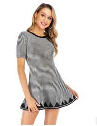 Knitting Dresses For Girls Australia - New Arrival A Line Knitted Dress For Womens Girl Crew Neck Short Sleeve Mini Casual Slim Kintwear Dresses P695