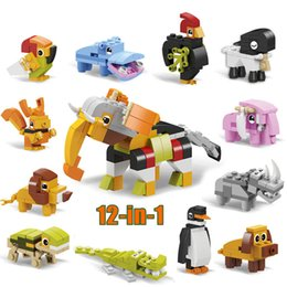 Wholesale 12 in Animal Kingdom Building Block Brick Set Elephant Lion Crocodile Goat Penguin Tortoise onstructor Kid Educational Toy for Children