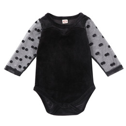 kids jumpsuit romper playsuit NZ - Lovely Kids Infant Baby Boys Girls Clothes Lace Polka Dot Long Sleeve Romper Velvet One Piece Jumpsuit Playsuit Outfit Set 0-18M