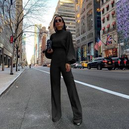 Wholesale jumpsuits for women for sale – dress Womens Jumpsuit Solid Color Women Fashion Long Sleeved High Necked Halter Fashion Casual One piece Trousers Autumn and Winter for Women