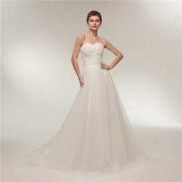 $enCountryForm.capitalKeyWord NZ - Simple A-Line Wedding Dresses Chest Real Feather Decoration Thin Net Catch Church Beach Wedding Dress Trailing New