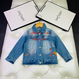 child buttons Australia - 2019 kids coat kids clothes girls Blue lapel embroidered buttoned denim jacket children casual tops high quality baby girl clothes AB-8