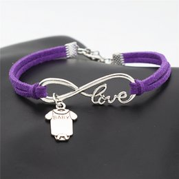 $enCountryForm.capitalKeyWord Australia - Fashion Handmade Charm Purple Leather Suede Bracelets with Infinity Love Baby Short Sleeve Clothes T-shirt Romper Rope Bangles For Women Men