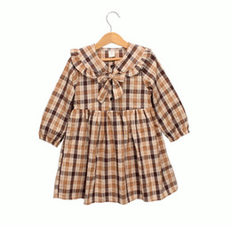plaid dresses kids NZ - Girls Bow Tie Long Sleeves Plaid Dresses Fall 2019 Kids Boutique Clothing 2-7T Little Girls Cotton Gingham Dresses