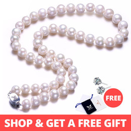 $enCountryForm.capitalKeyWord Australia - White Real Natural Near Round Pearl Jewelry Women Necklace,925 Sterling Silver Butterfly Buckle,8-9mm 45cm Fine Beads Jewelry J190530