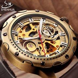 $enCountryForm.capitalKeyWord Australia - en's Watches Mechanical Wristwatches SHENHUA Retro Bronze Skeleton Mechanical Watch Men Automatic Watches Sport Luxury Top Brand Leather ...