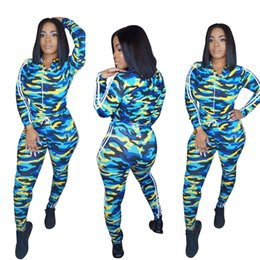 blue long sleeves women jumpsuit Australia - New Women Jumpsuits Camoufage Long Sleeve Sports Suit Daily Tops and Pants Lady Autumn Winter Tracksuit 2 Pieces Outfits Casual Sweatsuit