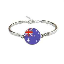 Woman Fans UK - Australia National Flag World Cup Football Fan Time Gem Glass Cabochon Button Charm Bracelet Bangles For Women Men Link Chains Jewelry Gifts