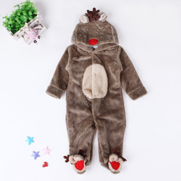 elk clothes Australia - Baby Plush Christmas Deer Cosplay Romper Cute infants boys girls red Xmas Elk hooded Onesie for 0-2T Xmas warm clothing gifts