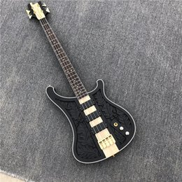 hand carved guitar bodies UK - Manufacturer custom wholesale, 4-string bass full body carved guitar gold accessories. Black body black black pickup Provide customization