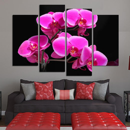 canvas photo prints Australia - Modern Art Print Canvas Tableau Frame 4 Piece Pcs Pink Flower Photo Painting Wall HD Living Room Decoration Modular Picture Poster