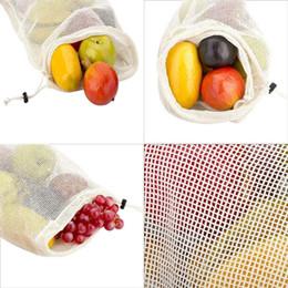 Kitchen Storage Sets Australia - 3 pcs set Reusable Cotton Vegetable Bags Home Kitchen Fruit And Vegetable Storage Mesh Bags With Drawstring Machine Washable