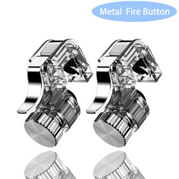 trigger controller NZ - 2pcs Metal Smart Phone Mobile Gaming Trigger Joystick for PUBG Mobile Gamepad Fire Button Aim Key L1R1 Shooter Pubg Controller