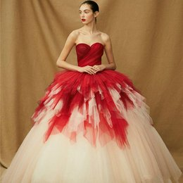 $enCountryForm.capitalKeyWord Australia - Princess Red and Ivory Gothic Wedding Dresses Sweetheart Corset Back Two Tones Non White Modern Chic Bridal Gowns With Color