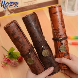 Luxury Pen Cases Australia - Retro Treasure Map Pencil Cases Luxury Roll Leather Pu Pen Bag Pouch For Boy Girl School Stationery Supplies Cosmetic Bag