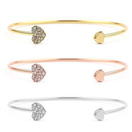 $enCountryForm.capitalKeyWord UK - Full Crystal Heart Bangles Rhinestone Double Heart Love Open Cuff Bangle Rose Gold Silver Adjustable Bracelets Women Jewelry Wedding Gift