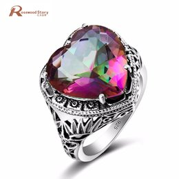 Mystic topaz stones online shopping - Elegant Heart Ring Fire Rainbow Mystic Topaz CZ Stone Wedding Jewelry Sterling Silver Ring Engagement Promise Love Rings