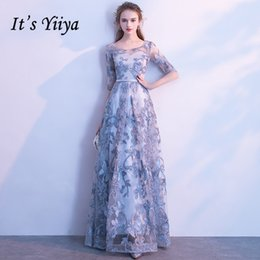 blue floral print evening gown Australia - It's YiiYa Evening Dress Gray Floral Print Embroidery Formal Dresses O-neck Half Sleeve A-line Floor length Party Gown E039