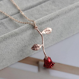 Silver Red Roses Australia - Delicate Handmade Alloy Red Rose Flower Pendant Necklace Beauty Gold Silver Plated Charm Valentine Gifts Women Fashion Jewelry