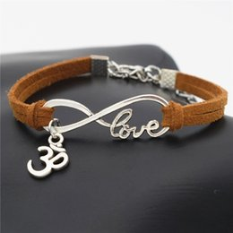$enCountryForm.capitalKeyWord Australia - Bohemian Brown Leather Suede Rope Bracelets Luxury Infinity Love Buddhist 3D Ohm Aum Yoga OM Pendant Bangles For Women Men Jewelry Wholesale
