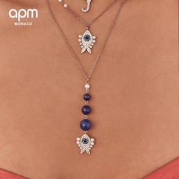 $enCountryForm.capitalKeyWord NZ - APM Monaco 925 Navy blue fish necklace pendant summer new collarbone chain high-end silver jewelry