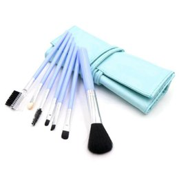 Discount metal makeup brush set HIGH QUANLITY 7pcs Set Foundation Makeup Brushes Eyeshadow Powder Eyebrow Eyeliner Make Up Brush Set Professional Cosmet