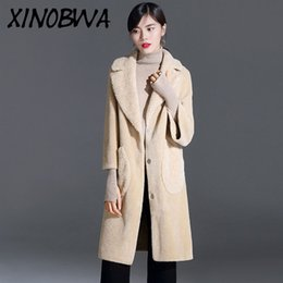women s wool coats sale NZ - Hot Sale New Women Winter High Street Fashion Turn Down Collar Pockets Covered Button 100%Wool Long Coat Female OL Office Blends